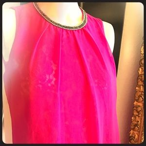 Tops - Hot pink rhinestone neck knit top